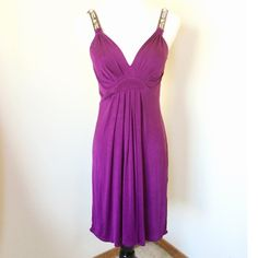 Elie Tahari Rich Violet Jersey Liz Cocktail Dress Elie Tahari rich, luxe violet stretch jersey cocktail dress. Size small.  Pre-owned. Style name: Liz.  This dress will turn heads at your next party!  The straps are embellished with pearls, rhinestones and metallic threading. You can wear a real bra with this dress, too. Hooray! Hits above the knee. There's lots of stretch, and can easily fit someone who wears size 2, 4, 6, XS &/or S.  Smoke-free home. No trades. Offers welcome! Elie Tahari…
