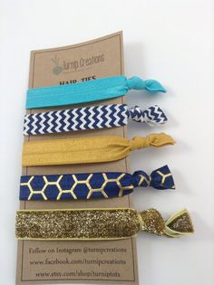 Hair Ties Navy & Gold Hair Ties FOE Hair Ties Chevron Honeycomb elastic pony tail holder hairties