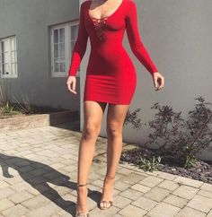 Fashion Women Long Sleeve V-neck Bodycon Sexy Knitted Dresses Petal Cuff Pullover Mini solid Dress for Woman Sexy Outfits, Cute Outfits, Fashion Outfits, Womens Fashion, Dress Fashion, Latest Fashion, Fashion Trends, Tight Dresses, Sexy Dresses