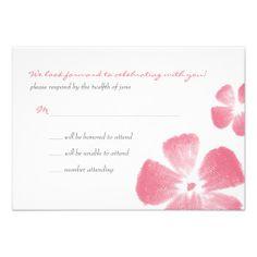 Pink Tropical Watercolor Flowers Wedding RSVP Custom Invites