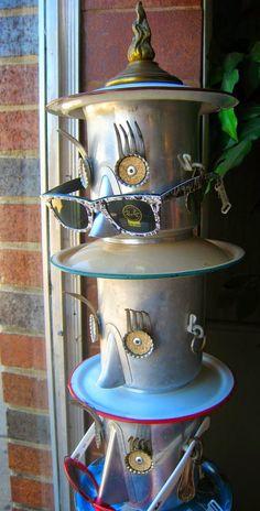 Vintage coffee pot totem - repurposed garden art