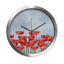 Poppyfield against the blue sky- Modern Wall Clock #poppy #poppies #flowers #floral #watercolor #fineart #homedesign #home #homedecor  #showercurtain  #utart #cafepress
