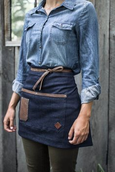 Denim & Leather Half Apron Made in the U.S.A by AuthenticSundry