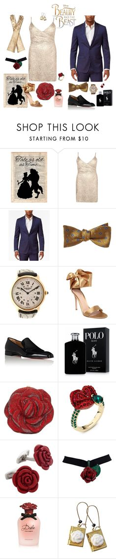 """""""Belle and Beast Remix- plus size"""" by gchamama ❤ liked on Polyvore featuring Disney, Boohoo, Sean John, Brooks Brothers, Cartier, Gianvito Rossi, Christian Louboutin, Ralph Lauren, Judith Leiber and Atelier Swarovski"""