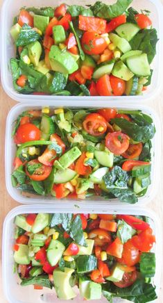 eat-pure:  Meal prep Sunday wooo - lunches/salads for the next three days: avocado, cucumber, sweet corn, cherry tomatoes, red bell pepper, spinach, marrow fat peas cooked in organic low sodium vegetable stock, with lemon juice and coriander (cilantro).