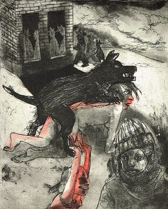Marcelle Hanselaar - Etchings 2011-2012 - We're all bleeding 6 (hand coloured), 25 x 20 cm, etching/aquatint, edition 15