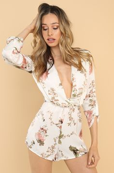 Botanical Beauty Romper - White Fashion Heels, Fashion Forward, Rompers, Clothes For Women, Beauty, Dresses, Style, In Trend, Outerwear Women