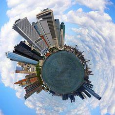 360 Degrees Panorama Planets around the world ...  Lower Manhattan, NYC
