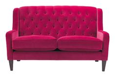 magenta berry tufted velvet sofa l Bladon buttoned in Zoffany Cleves