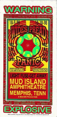Original silkscreen concert handbill for Widespread Panic at Mud Island Amphitheatre in Memphis, TN in 1998. 4.5 x 8.5 inches on card stock. Art by Mark Arminski. 1 in stock