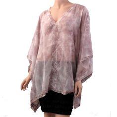 Light Purple Tie Die Caftan Cover Up Lounge Wear Shirt Tunic Lace Trim #LoveStitch #Caftan #EveningOccasion