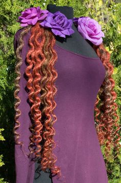 Items similar to Dread lock hair falls in Crimson and Light Brown Super Curly on Etsy Crimson Hair, Brunette Hair, Fall Hair, Balayage Hair, Dreads, Curly, Etsy Shop, Brown, Modern