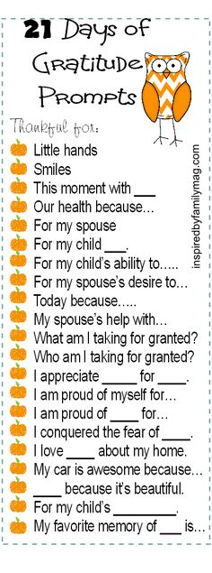 21 Days of Gratitude Challenge & 3 different printable prompts to choose from and to remind you to be grateful each day! - This one is focused on the family and kids, there's one for kids with more explanation and another one.... #21Gratitude