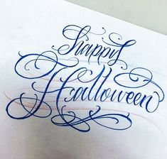"Lettering ""happy Halloween"" by Tattoo Artist, Cyklone Typography, Lettering, Happy Halloween, Tattoo Artists, Calligraphy, Embroidery, My Love, Drawings, Letterpress"