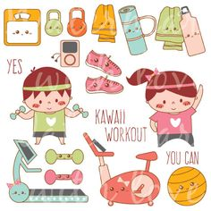 Kawaii Workout Clipart Kawaii Exercise Clipart by CafeClipArt