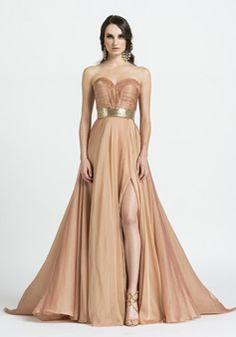A line Sweetheart Floor Length Chiffon Natural Waist Evening Gowns With Side Slit - 1300305445B - US$209.99 - BellasDress