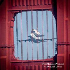 Space Shuttle Endeavor Flies Over San Francisco. View through North Tower of Golden Gate Bridge. ©2012 Josh Litwin www.mementopress.com $75 Premium Stretch Canvas Ready to Hang
