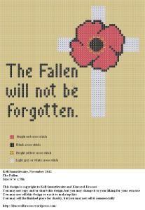 Freebie Remembrance poppy x stitch.