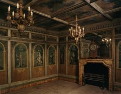 Trompe l'oeil painted panels in an eighteenth century room from a Swiss castle