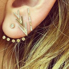 "EF Collection Multi Diamond Bezel Ear Jacket, Partial Diamond Flying ""V"" Stud and Diamond Segment Bar Stud. #earparty"