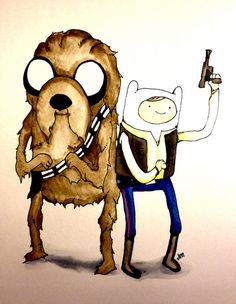 Space Adventure Time part 1 Han Solo Chewbacca Finn Jake watercolor www.justin13art.com Art Print