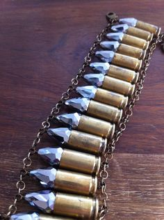 SALE bullet shells and crystals bracelet Bullet Casing Crafts, Bullet Casing Jewelry, Bullet Crafts, Ammo Jewelry, Metal Jewelry, Jewelry Crafts, Stamped Jewelry, Jewelry Ideas, Shotgun Shell Crafts