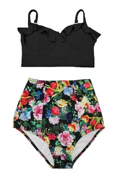 Black Midkini Midkinis Top and Flora Floral Flower High Waisted Waist Pin up Shorts Bottom Swimsuit Bikini set Swimwear Swim suit wear S M L