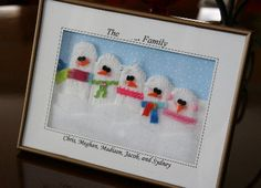 Crocheted or knitted snowmen representing each member of the family in a frame. Cute ideas here!