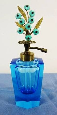 """Antique Vintage Irice Aqua/Blue Crystal Perfume Scent Bottle/Atomizer w/Rhinestone Flower Top. Made is West Germany. Height 6-3/4"""" tall."""