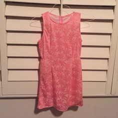 Hanosome & Honey Pink floral dress that is fun and flirty! Cute diamond cut outs on both sides! hanosome & honey Dresses Mini