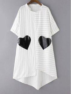 Striped Pockets Patch Irregular Hem Dress - WHITE S Mobile