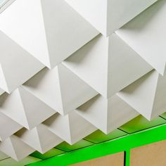 Mio Ceiling Tiles-very cool application for basement ceiling tiles when you want to maintain access to plumbing, wiring, etc that is typical in the basement ceiling. More interesting and chic than typical acoustical and more practical than drywall.