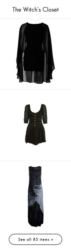 """The Witch's Closet"" by kai-vienna ❤ liked on Polyvore featuring witch, dresses, short dresses, vestidos, black, black dress, black chiffon dress, black cocktail dresses, black sleeve dress and dresses/skirts"