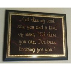 """My soul saw you plaque! - Use promo code """"PINTEREST"""" on www.knittwitt.com for 50% off whatever you order!"""