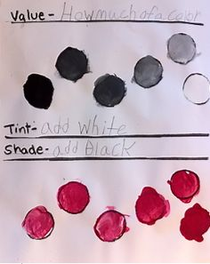 Art Project Girl: A VISUAL LESSON - Teaching value, tint, & shade #arted #homeschool