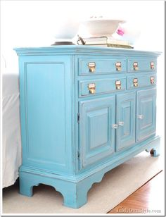 Before and After Furniture Makeover in Turquoise - In My Own Style