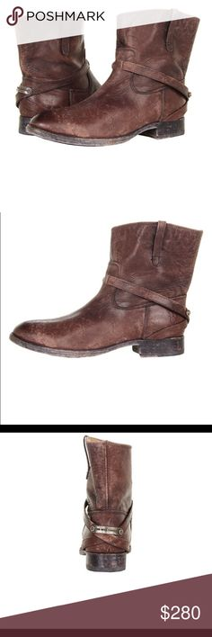 """Frye Lindsay plate short boots dark brown size 8.5 Searching for a quality leather flat boot to complement your relaxed style? Frye has you covered with the Lindsay Plate Short boots! With distressed vintage styling, this rugged western bootie will become your go-to ankle boot to complete your casual look! Distressed leather upper Strap detail with logo plate hardware at heel 6½"""" shaft height, pull on 13"""" leg opening Round toe Fully lined in leather 1"""" stacked block heel Leather and rubber…"""