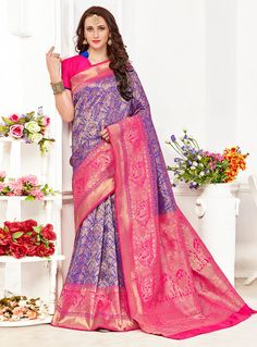 Blue Banarasi Silk Festival Wear Saree 114819