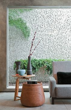pebbled wall as an outside curtain. outside curtains! just what i never knew i always wanted!