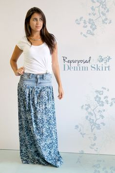 What a cute idea!  Repurposed Denim: An Upgrade with Voile #diydresseasy