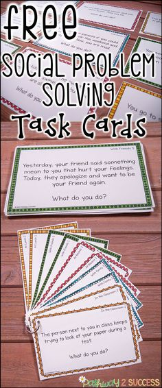 "Use these social scenarios and situations task cards to help kids learn how to solve real problems! These are ideal for kids who struggle with making good decisions or get ""stuck"" in their thinking. So helpful for kids with autism, ADHD, and other social challenges."
