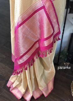 Discover thousands of images about Silk Banarasi - Beige Cream Purple Banaras Sarees, Silk Saree Kanchipuram, Georgette Sarees, Silk Sarees, Saris, Online Saree Purchase, Elegant Saree, Fancy Sarees, Saree Styles