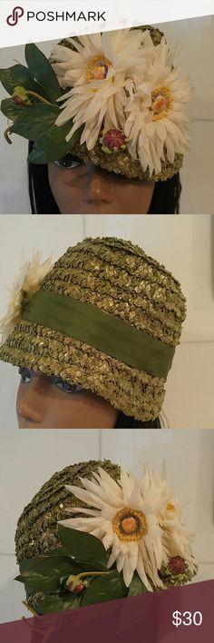 Vintage Grass Green Floral Straw Bucket Hat Vintage Grass Green Floral Straw Bucket Hat A Fun One Ladies ! Vintage Accessories Hats