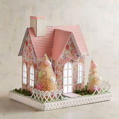 Easter Spring Pastel Pink Putz House Light-up LED Pier 1 NWT | eBay