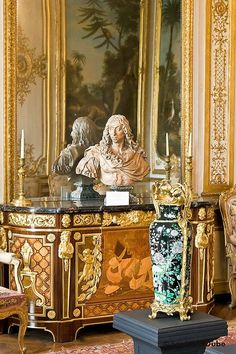 Vignette with bust on inlaid chest, Chateau de Chantilly.