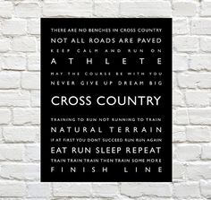 Cross Country - Sports Decor - Cross Country Typography Prints by PaperWallDesign can be Personalized to include your Athletes Name! Motivational words to celebrate and inspire your Runner. Explore our entire collection of Sports Typography Prints to celebrate the Athlete in your life! #Crosscountry