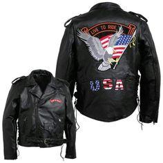 Diamond Plate Mens Hand-sewn Pebble Grain Genuine Buffalo Leather Jacket- 2x