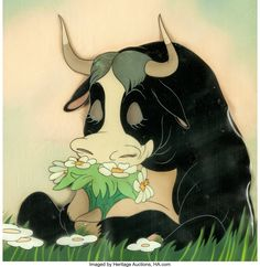 Ferdinand the Bull Production Cel and Presentation Background (RKO-Walt Disney, Disney Kunst, Disney Art, Walt Disney, Bull Tattoos, Animal Tattoos, Cartoon Tattoos, Cartoon Drawings, Animated Cow, Cartoon Characters Sketch