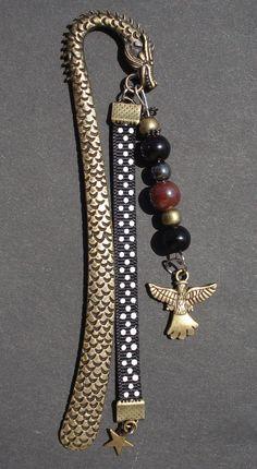 """Marque pages bijoux grand format 12cm métal bronze """"Dragon"""" : Marque-pages par couleur-nala"""