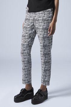 Photo 2 of Crepe Grid Print Cigarette Trousers